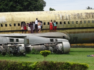 A plane as a playground in Entebbe, Uganda