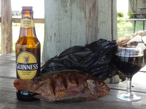 Guiness and smoked tilapia - oh yeah.
