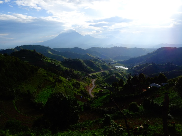 View on Mt Muhabura on our way to Kisoro, Uganda