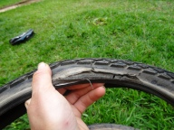 African dirtroads are tough, even on Schwelbe Marathon plus tires !