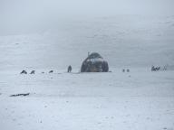 Kirghiz yourt under the snow
