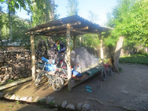 Sleeping in a village on the M41, Tajikistan
