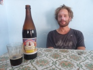 Enjoying an Inca black beer