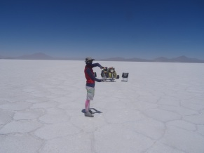 Having fun with perspectives, Uyuni, Bolivia