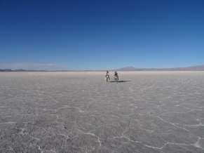 Cycling hand in hand in Uyuni, Bolivia