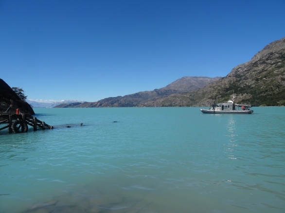 Waiting for the ferry at Lago O'Higgins, Chile