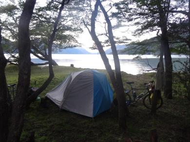 Camping outside Villa O'Higgins, Chile