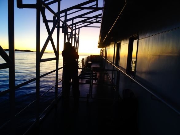 Sunset on the ferry, Chile