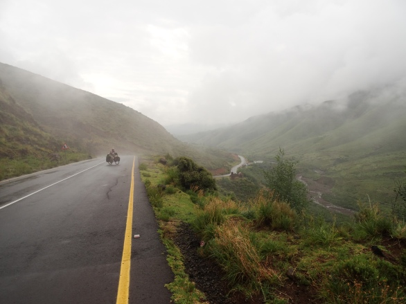 Climbing in the fog, Lesotho