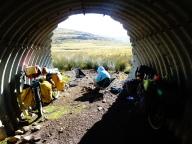 Taking a break after Mafika Lisiu Pass, Lesotho