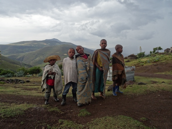 Basotho kids with their blankets, Lesotho